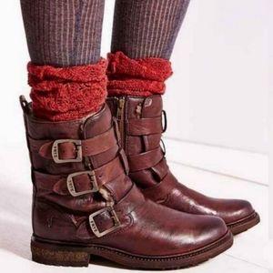 Frye Valerie Shearling Strappy Moto Boot 8.5